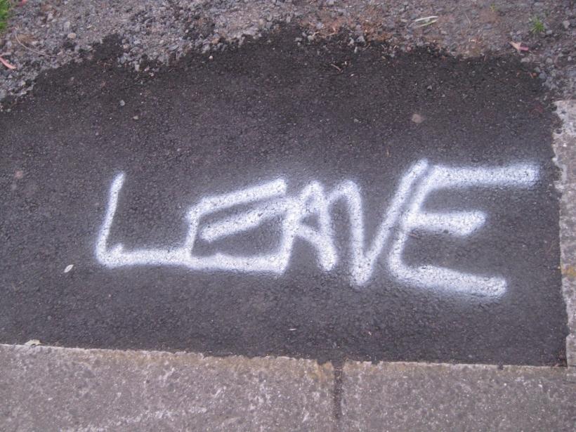 leave roadworks white spraypaint asphalt